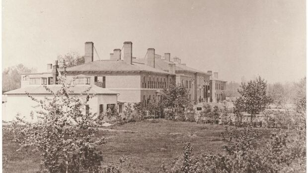 The Parliament Buildings on Front Street West, one of the earliest known photographs of Toronto, taken in 1856 or 1857.
