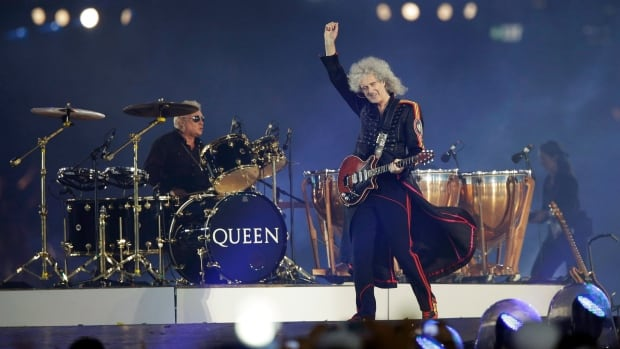 Brian May, guitarist of Queen, performs during the Closing Ceremony at the 2012 Summer Olympics in London. May and the rest of Queen will be playing with Adam Lambert fronting in Winnipeg this summer.