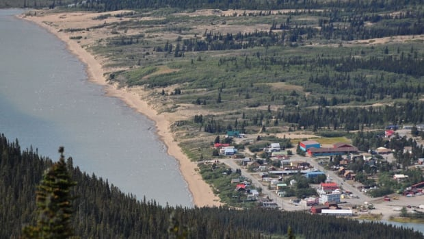 A view looking down on the proposed development area of the Carcross sand dunes in Yukon.