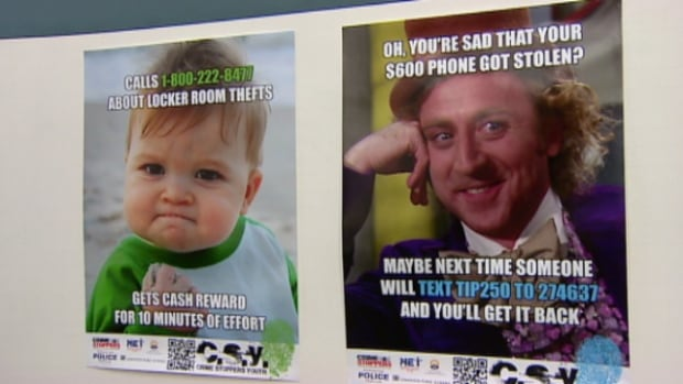 Posters will encourage students to text their tips to Crime Stoppers.