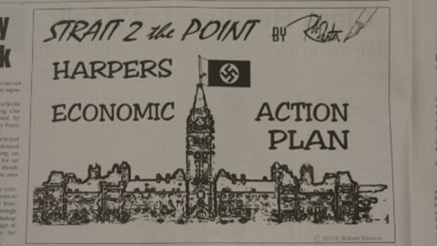 The Pictou Advocate, a local newspaper in Nova Scotia, printed this cartoon showing a Nazi swastika on a flag flying over Parliament Hill.