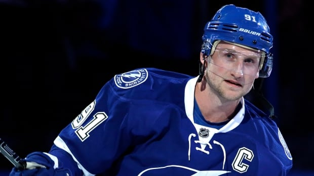 Steven Stamkos is introduced as the new captain of the Tampa Bay Lightning before the game against the Buffalo Sabres Thursday, March 6, 2014, in Tampa, Fla.