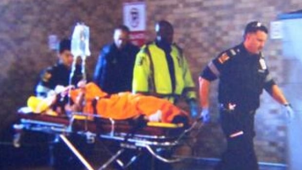 A female victim arrives at a trauma centre from York University, where she was apparently injured during a shooting.