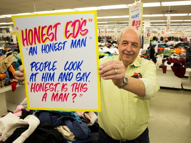 Frank Mirabelli at Honest Ed's sign sale