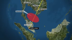 Malaysian missing plane map