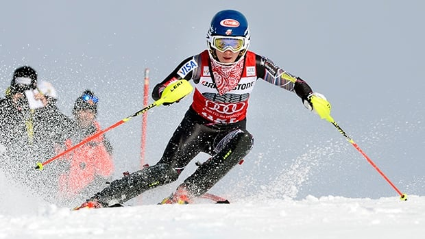 Mikaela Shiffrin during the first run of the FIS Alpine Ski World Cup women's slalom in Are, Sweden, on March 8, 2014.