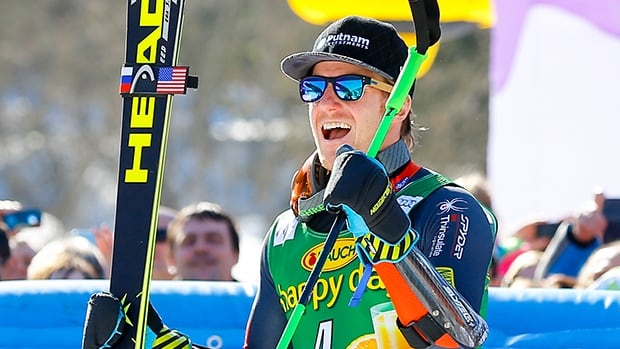 Ted Ligety takes 1st place during the Audi FIS Alpine Ski World Cup men's giant slalom on March 08, 2014 in Kranjska Gora, Slovenia.