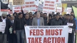 Unifor-Vancouver Container Truckers Association protest