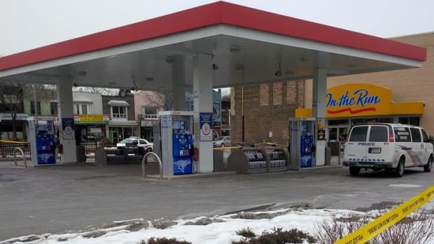 A police investigation left an Esso gas station and Tim Hortons closed on Sunday, near Danforth and Greenwood avenues.