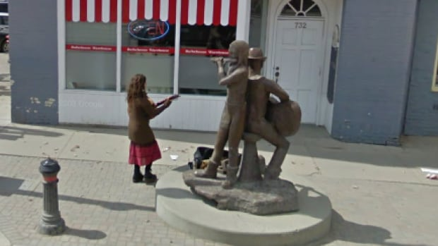 This sculpture on Broadway Avenue is one of more than a dozen that will be removed.