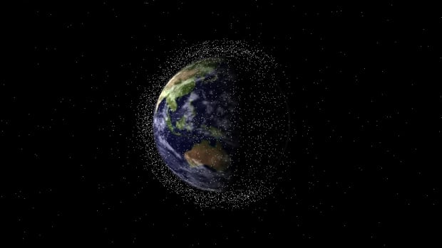 Scientists believe there are more than 300,000 pieces of debris - made up of everything from tiny screws and bolts to large parts of rockets - orbiting Earth at high speeds.