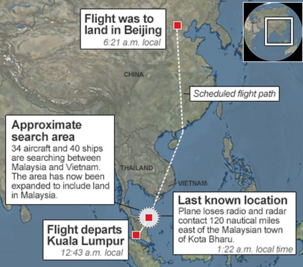 Malaysia Airlines disappearance map