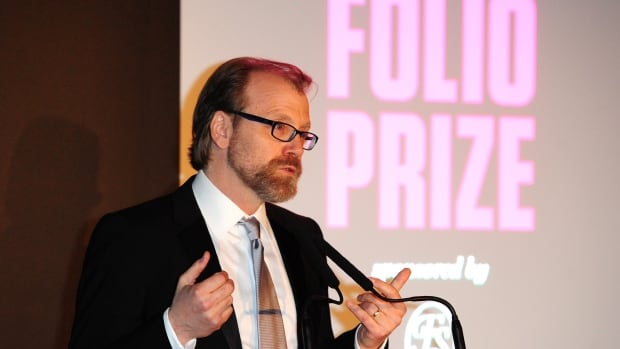 George Saunders gives a speech after winning the 2014 Folio Prize in London on Monday.