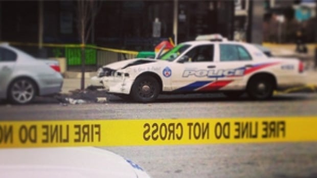 A Toronto police cruiser was involved in a collision near Danforth and Jones avenues on Monday afternoon. The image above was posted to Instagram.