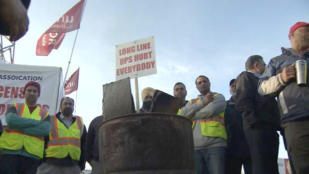 Container truck drivers have been on strike for better wages and shorter wait times at Port Metro Vancouver terminals.