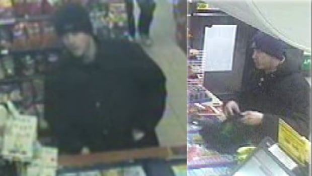Police are searching for a suspect in a pair of Hamilton robberies.