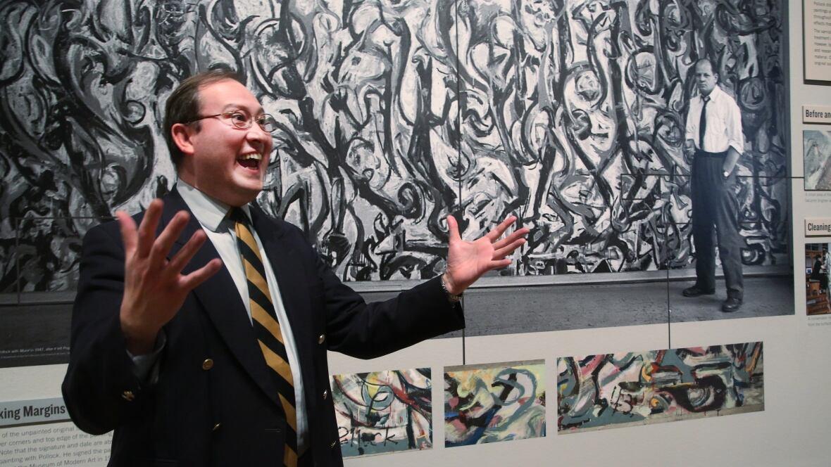 Jackson pollock 39 s refurbished mural goes on display for Mural jackson pollock