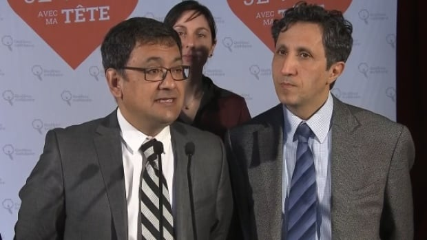 Québec Solidaire co-spokesperson, Andres Fontecilla (left), is running in the Montreal riding of Laurier-Dorion.  He is pictured here with Mercier candidate Amir Khadir.
