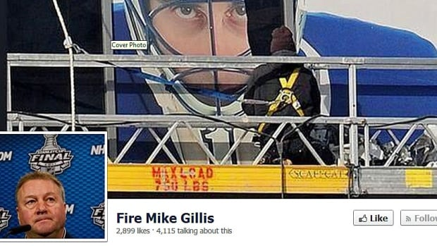"The Facebook page calling for Vancouver Canucks general manager Mike Gillis to be fired has nearly 3,000 ""likes."""