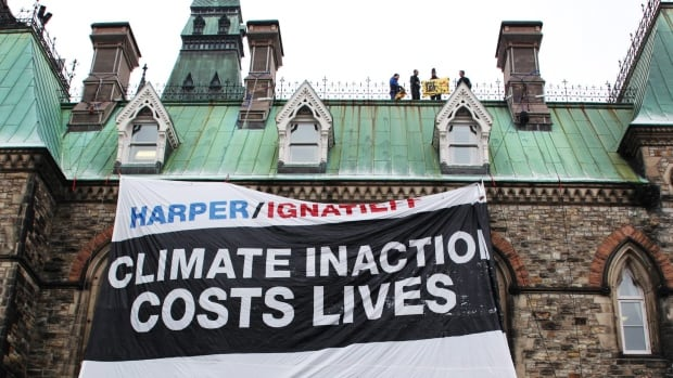 Security spending for labour and operations nearly tripled after Greenpeace activists  were able to unfurl a giant banner from the roof of Parliament demanding action on climate change.