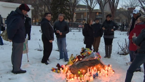 Dozens of people gathered in an Oliver park on Tuesday night to remember Demetrios Karahalios, who was known by his nicknames Jimmy or Coco.