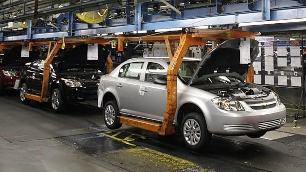 A Chevy Cobalt moves on the assembly line at a General Motors assembly plant in 2008. Questions are being asked about how long GM knew about a problem with  faulty ignition switches.