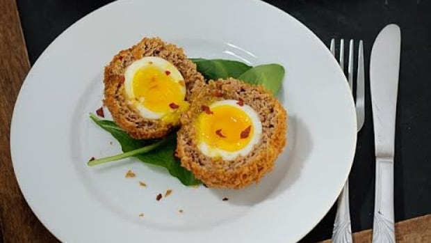 Don Chow cooks up these scotch eggs on D is for Dinner for All in a Day host Alan Neal.