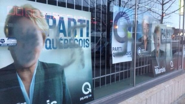 Parti Québécois posters were targeted by vandals during the second week of the Quebec election campaign.
