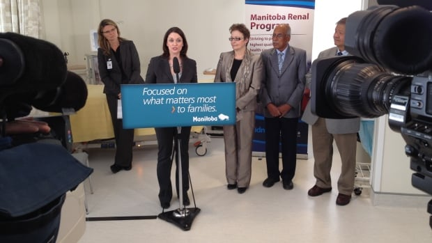 Manitoba Health Minister Erin Selby announces a new dialysis unit at Seven Oaks Hospital on Wednesday.