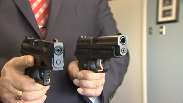 Can you tell which is the real gun? The gun on the left is the pellet gun. The one on the right is the real gun.