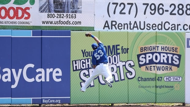 Melky Cabrera of the Toronto Blue Jays leaps to make a spectacular catch off a line drive from Tampa Bay Rays' Matt Joyce during an exhibition game in Dunedin, Florida on Wednesday. The Rays went on to defeat the Blue Jays 5-4.