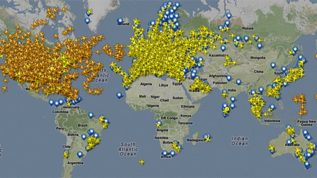 A map shows flights tracked by Flightradar24.com, which has 3,200 receivers deployed around the world that track planes using a technology known as ADS-B. Two of its receivers in Malaysia picked up Malaysia Airlines Flight MH370 over the Gulf of Thailand up until the point its responders stopped emitting the radio waves that help track its movements.