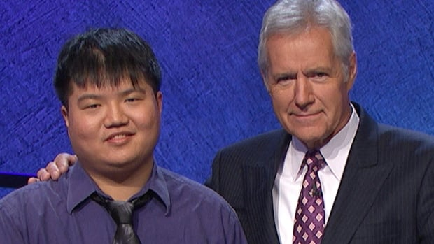 "Arthur Chu, left, ended his 12-game streak on Jeopardy after being unable to correctly answer the final Jeopardy question: ""He was the last male monarch who had not previously been Prince of Wales."""