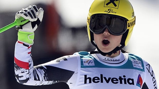 Austria's Anna Fenninger reacts after crossing the finish line in Thursday's women's super-G at the World Cup finals at Lenzerheide, Switzerland.