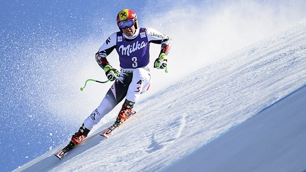 Austria's Marcel Hirscher competes in the men's super-G at the World Cup finals in Switzerland.