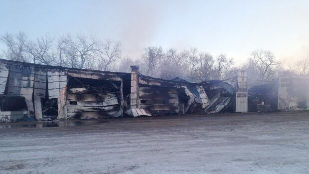 Burned rubble is all that remains of the office and equipment belonging to Hamiota Feedlot Inc.