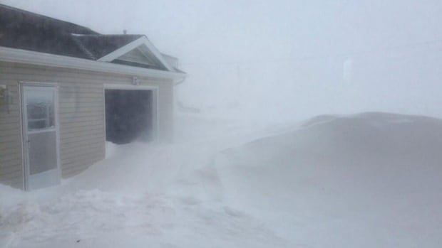 The snow is still falling heavily in Tignish Shore. The western part of P.E.I. is getting the worst of this winter storm.