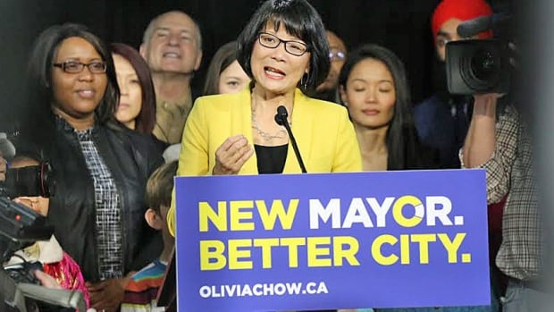 Polling numbers suggest Olivia Chow is running third in the Toronto race for mayor behind John Tory and Doug Ford.