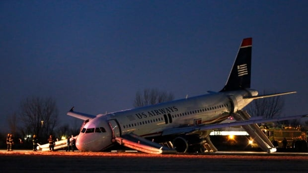 The U.S. Airways jet, departing from the Philadelphia International Airport,  was heading to Fort Lauderdale, Fla., when the pilot was forced to abort takeoff around 6:30 p.m., after the front landing gear failed.