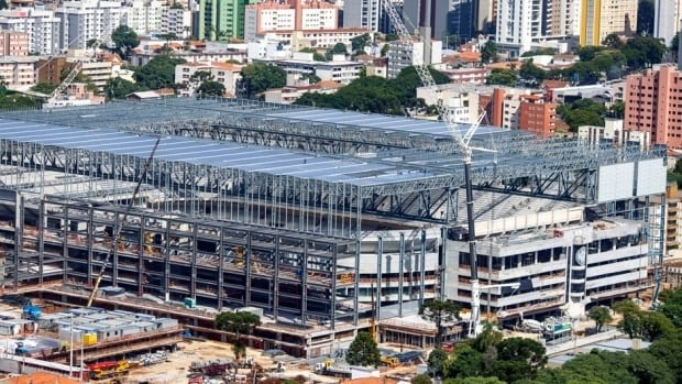 This Jan. 21, 2014 photo released by Portal da Copa shows a view of the Arena da Baixada under construction in Curitiba, Brazil.