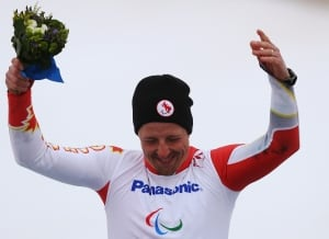 Josh Dueck celebrates his gold medal in Sochi