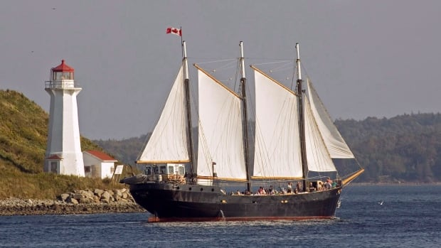 The tall ship Silva, built in Sweden in 1939 and used as a charter vessel, sails past Georges Island in Halifax harbour.