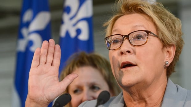 Parti Québécois Leader Pauline Marois speaks during a news conference at a metal training school in Montreal on Friday.