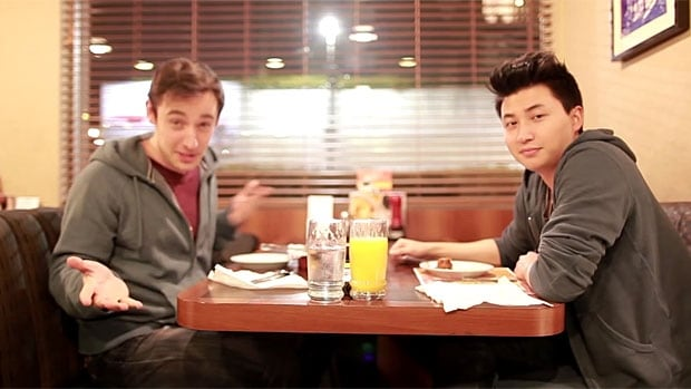 Terence Chung and Richard Garda started their day of birthday freebies not long after midnight, at Denny's.