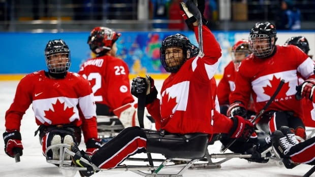 Canada players celebrate after winning the bronze medal ice sledge hockey match against Norway during the 2014 Winter Paralympics in Sochi.