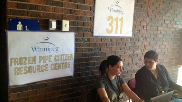 The city opened a resource centre at the Cindy Klassen Recreation Complex for Winnipeggers who have lost water service because of frozen pipes.