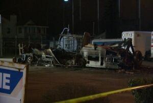 Motorhome fire, Petro Canada, 10200 block River Road, Delta B.C.
