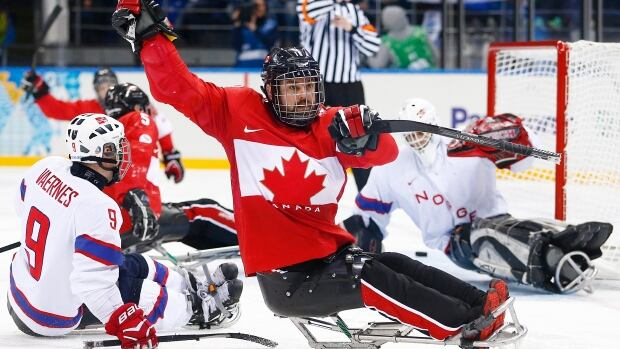 Canada's Billy Bridges celebrates his goal during the bronze medal ice sledge hockey match between Canada and Norway at the 2014 Winter Paralympics in Sochi, Russia.