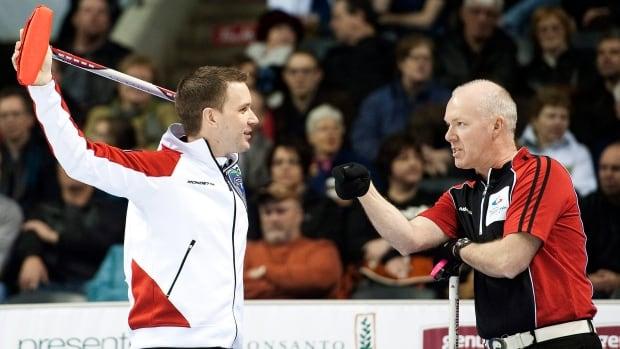 Brad Gushue, left, will face Glenn Howard in the final of Syncrude National Grand Slam of Curling on Sunday.