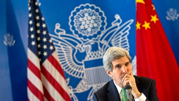 U.S. Secretary of State John Kerry listens to a question during a discussion with Chinese bloggers on a number of issues, including internet freedom, Chinese territorial disputes with Japan, North Korea, and human rights, on Saturday, Feb. 15, 2014, in Beijing, China.
